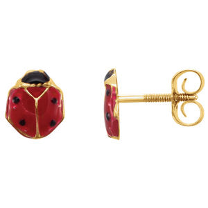 Youth Enameled Ladybug Earrings