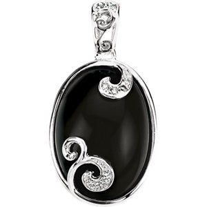 Onyx & Diamond Accented Scroll Design Pendant