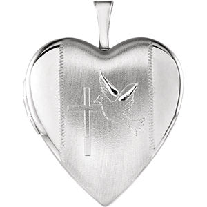 Heart Locket with Cross &  Dove