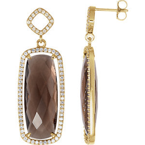 Smoky Quartz & Diamond Halo-Style Earrings or Mounting