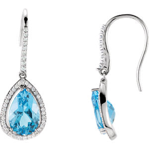 Swiss Blue Topaz & Diamond Earrings or Semi-Set