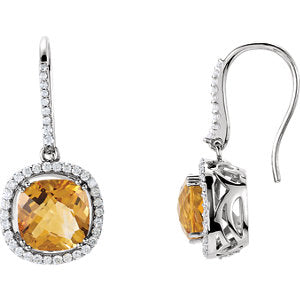Citrine & Diamond Halo-Style Earrings or Semi-Set