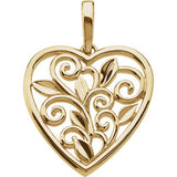 Scroll & Leaf Design Filigree Heart Pendant