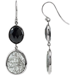 Onyx & Tourmalinated Quartz Earrings