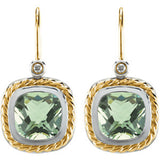 Checkerboard Green Quartz & Diamond Earrings or Semi-Set