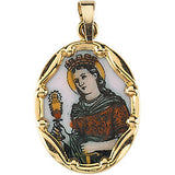 Hand Painted St. Barbara Porcelain Pendant