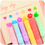 6 Pcs Cute Stamp Highlighter