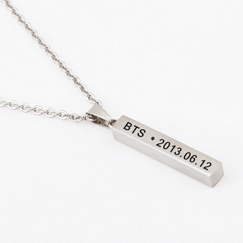 BTS Necklace (Name & D.O.B Pendant)
