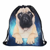 Pug Dog Drawstring Backpack