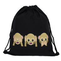 See No Evil Monkey Drawstring Backpack