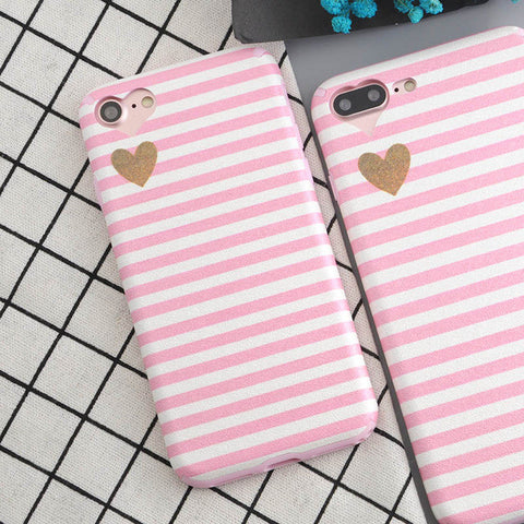 Pink Stripe Heart iPhone Case