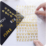 6 PCS Gold & Silver Alphabets And Digits Sticker Set