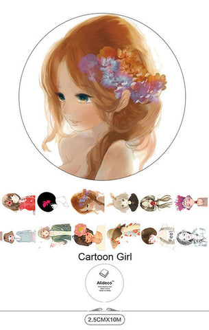 Cartoon Girl 2.5cm x 10M Wide Washi Tape