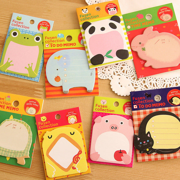 8PCs/Set Cute Animals Memo Pad/Sticky Note