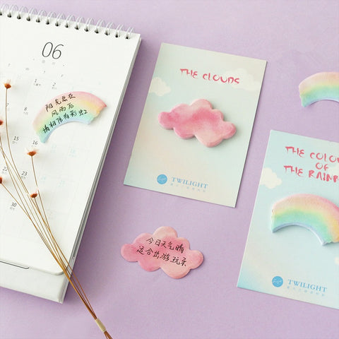 Rainbow and Clouds Sticky Notes Set