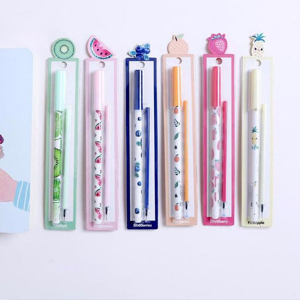 Cute Fruits Gel Ink Pen Set (6 Pcs)