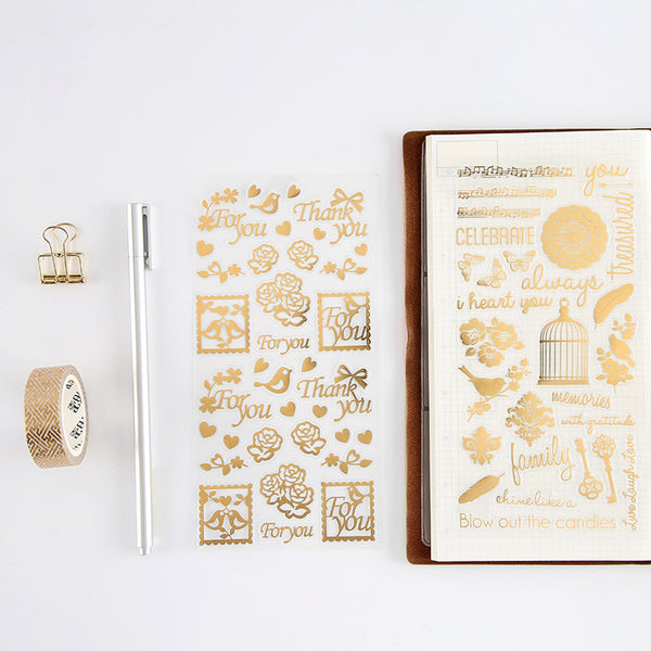 4 Pcs Vintage Gold Sticker Set