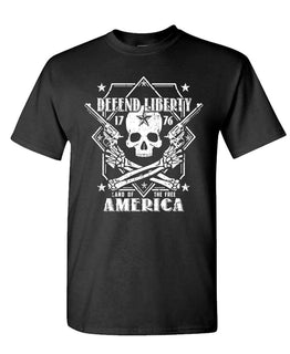 Defend Liberty Skull  Second Amendment Short Sleeve Shirt