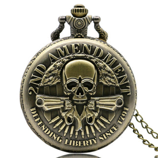 Cool 2nd Amendment USA Theme Bronze Quartz Pocket Watch With Necklace Chain Best Gift
