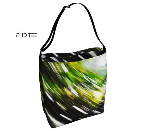 Nature Force Tote Messenger Bag, Front. Abstract Green Black White Design. Exclusive to PhD Tee™