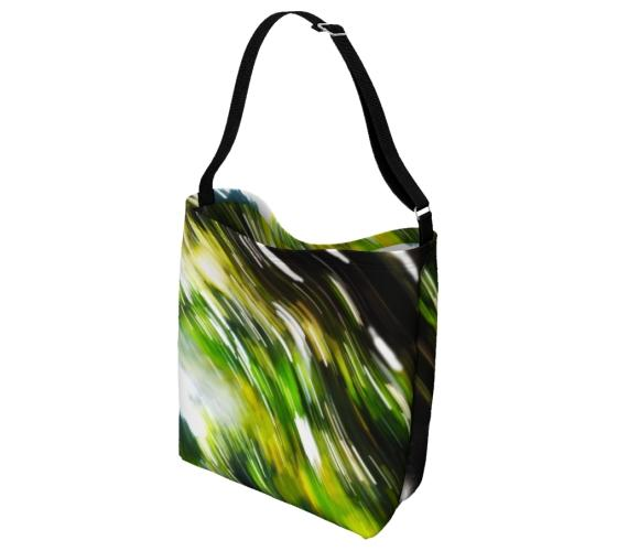 Nature Force Tote Messenger Bag, Reverse Side. Abstract Green Black White Design. Exclusive to PhD Tee™