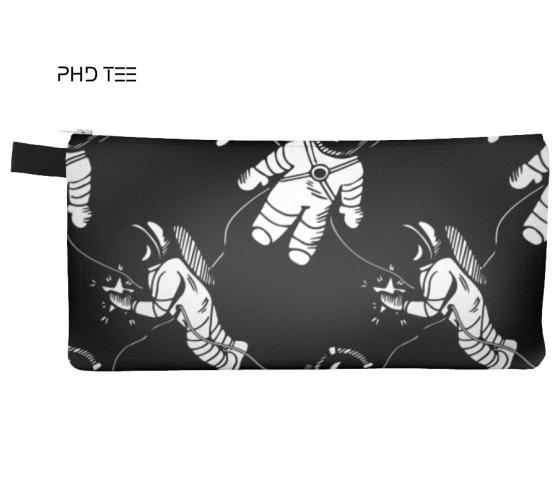 Space Walker Pouch, Spacemen Pattern On Black Background. Exclusive to PhD Tee™