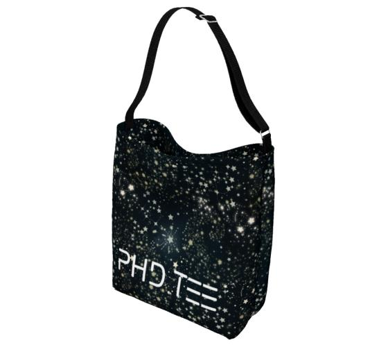 Star Street Tote Messenger Bag, showing reverse side. PhD Tee™ Designer Streetwear And Accessories