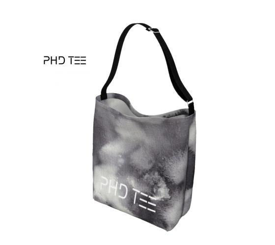 Storm Street Tote Messenger Bag. Neoprene, Monochrome Print and Seatbelt Black Strap. PhD Tee Designer  Street Accessories