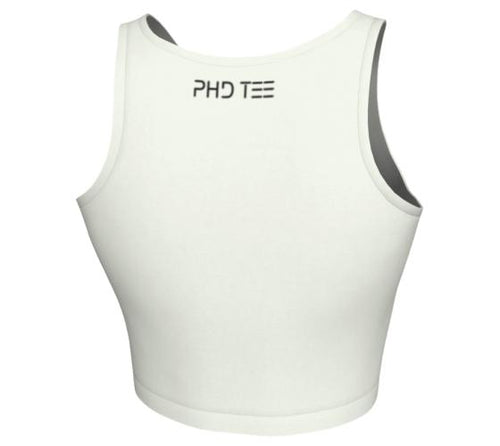 White Activewear Crop Top, Back With Brand Logo. PhD Tee™