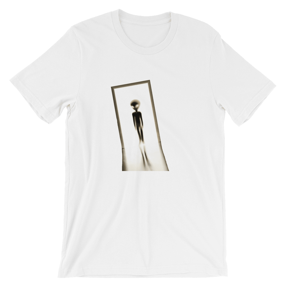 Alien Visitor White Unisex T-Shirt, Front Alien Print. Limited Edition T-shirt. Exclusive Available Only At PhD Tee Organic T-Shirts Store Online