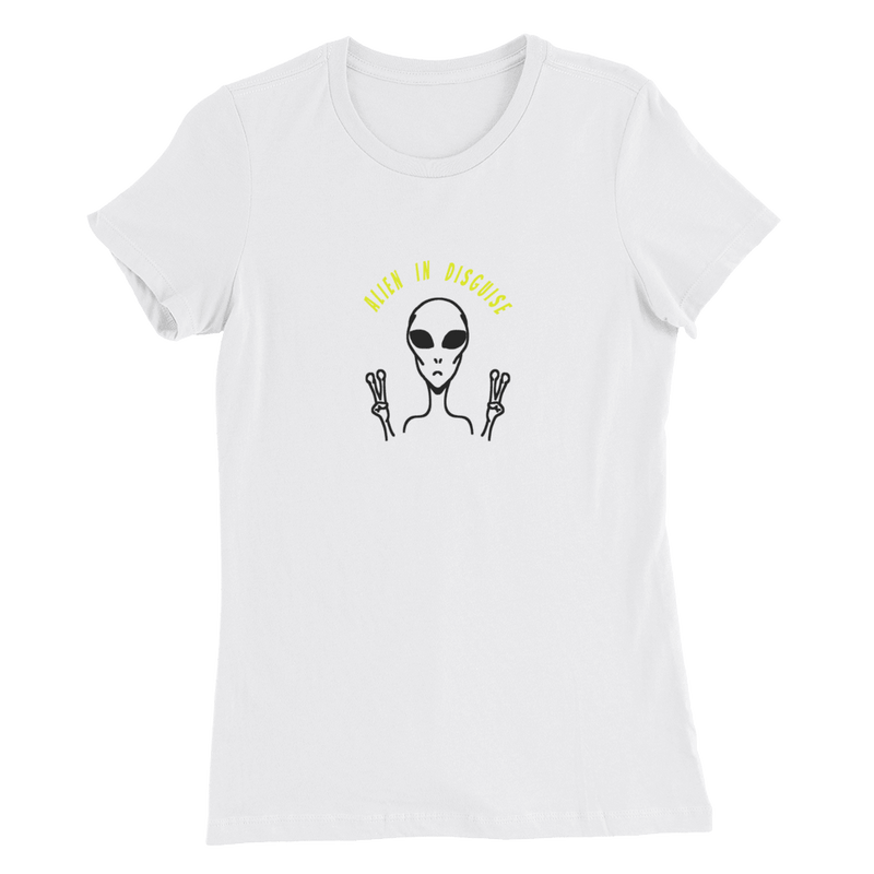 Alien In Disguise Womens Slim Fit T-Shirt, White. Front print. Exclusive Limited Edition at PhD Tee Online Store
