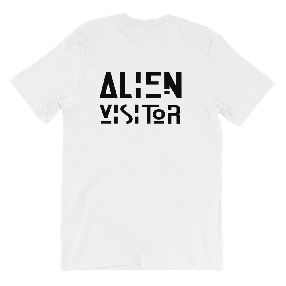 Alien Visitor White Unisex T-Shirt, Back Alien Visitor Slogan Print. Limited Edition T-shirt. Exclusive Available Only At PhD Tee Organic T-Shirts Store Online