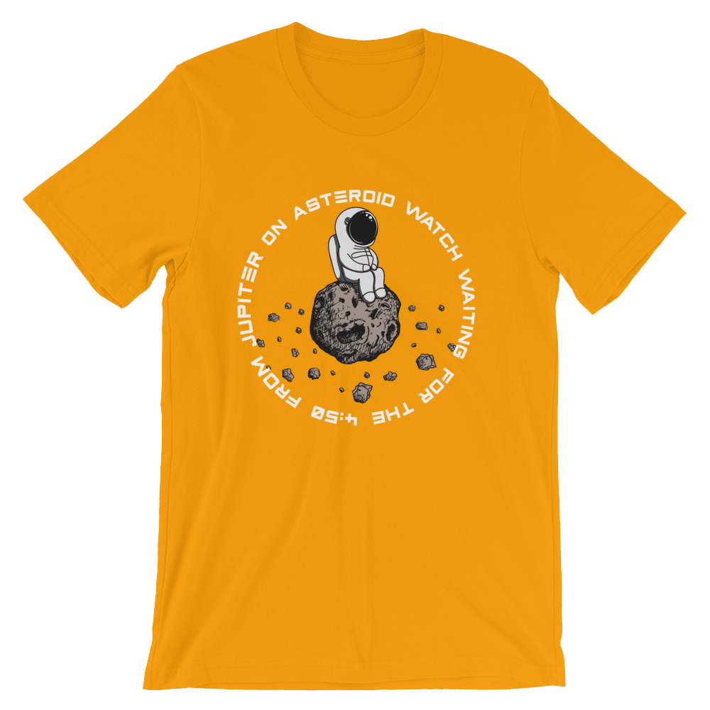 Astronaut Asteroid Watch Unisex T-Shirt, Retro Gold, Limited Edition , PHD TEE™