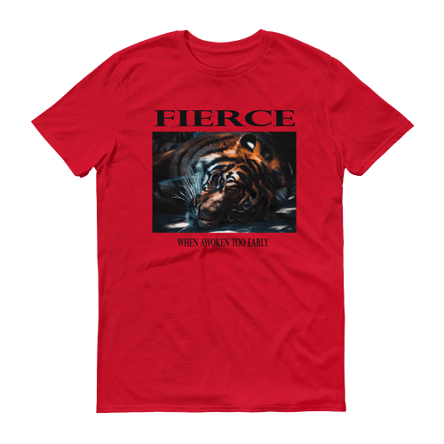 Fierce Unisex T-Shirt, Sleeping Tiger Graphic and slogan. Red, PHD TEE™