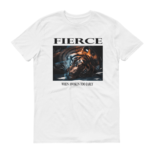 Fierce Unisex T-Shirt, Sleeping Tiger Graphic and slogan. White, PHD TEE™