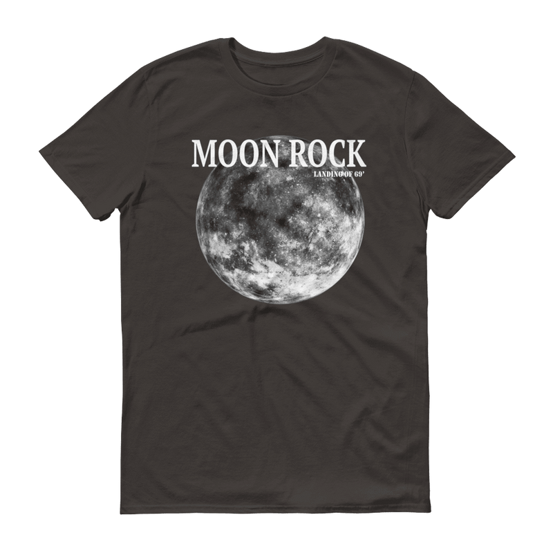 Moon Rock White Print Unisex T-Shirt, Smokey Grey