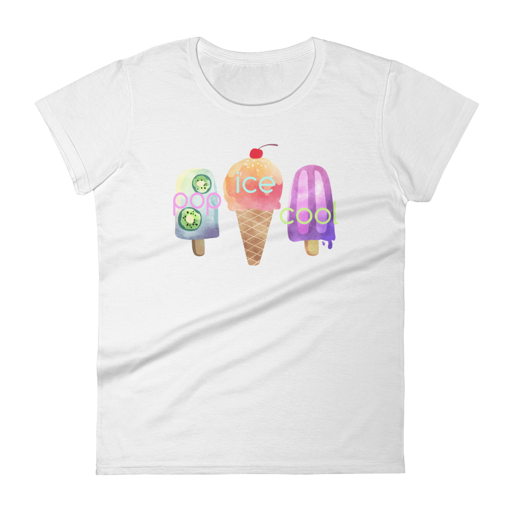 Pop Ice Cool Limited Edition Womens T-Shirt, White