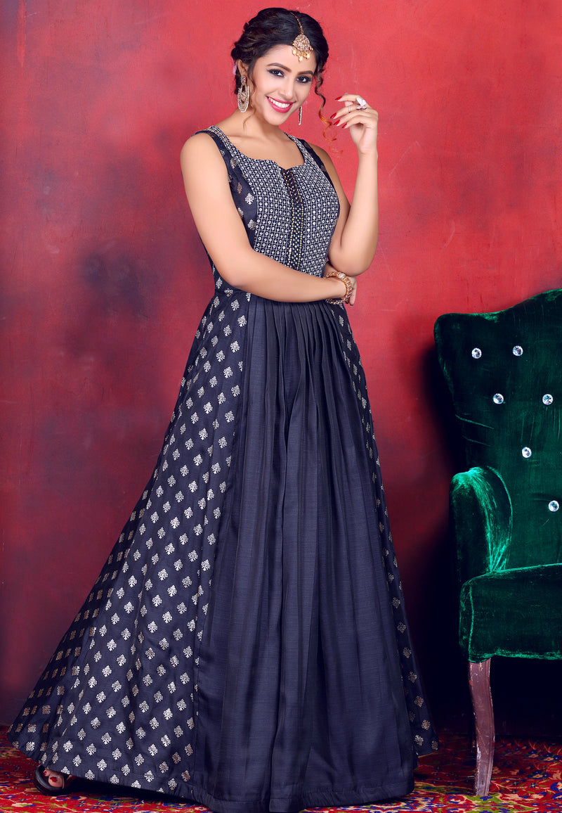 Navy Blue Gown with Net Dupatta