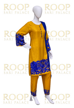 Yellow Suit with Blue Thread Work