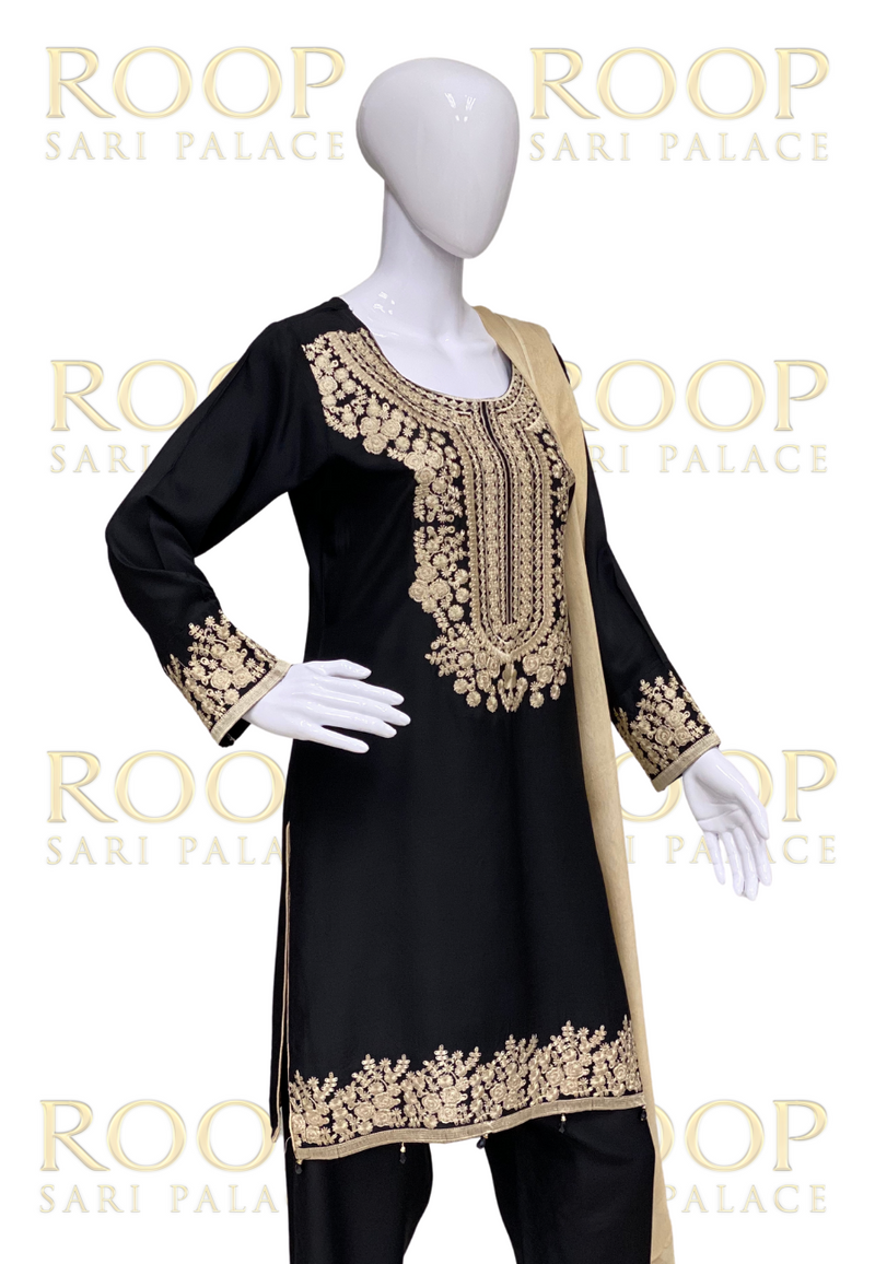 Black Suit with Gold Thread Work