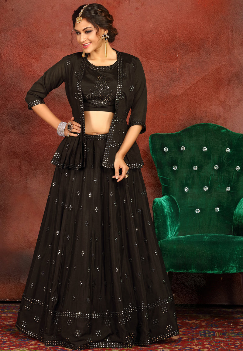 Black Crop Top Lehenga Choli with Jacket