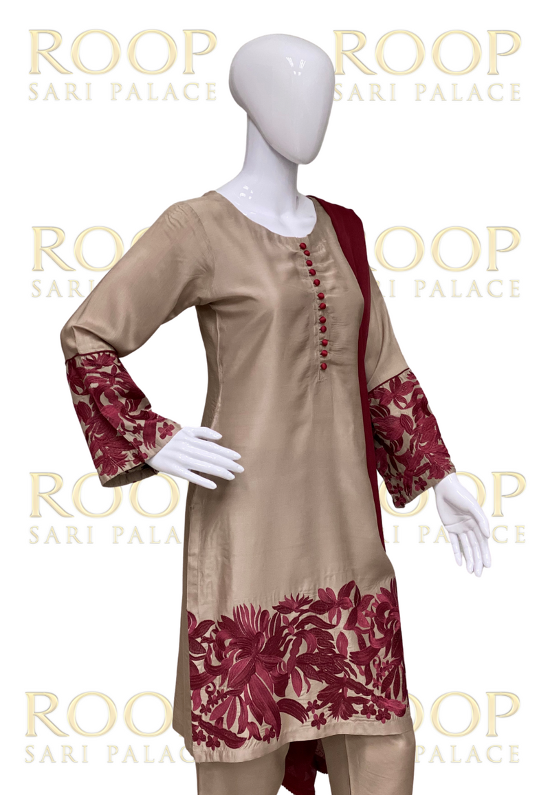 Gold Suit with Maroon Embroidery