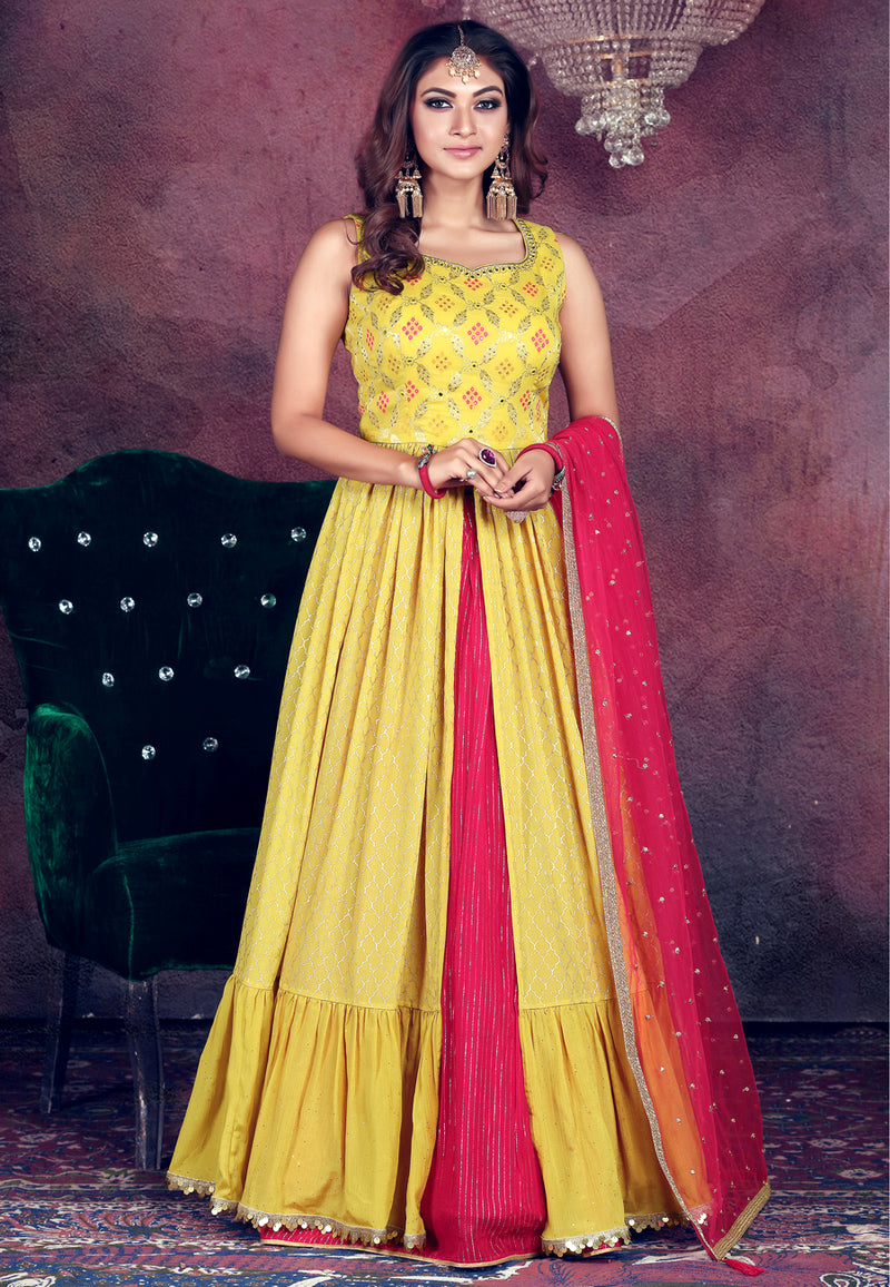 Yellow long top with Pink Lehenga