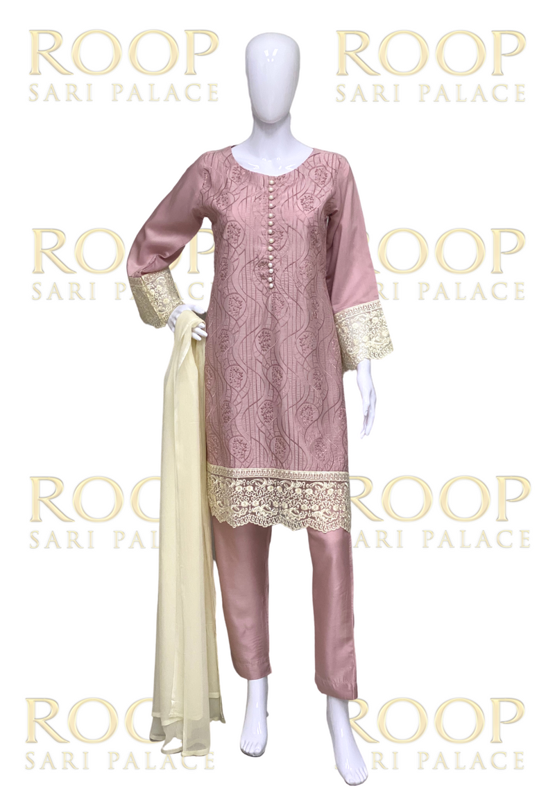 Light Pink Suit with Gold Lace
