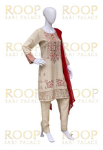 Cream color suit with Red Combination