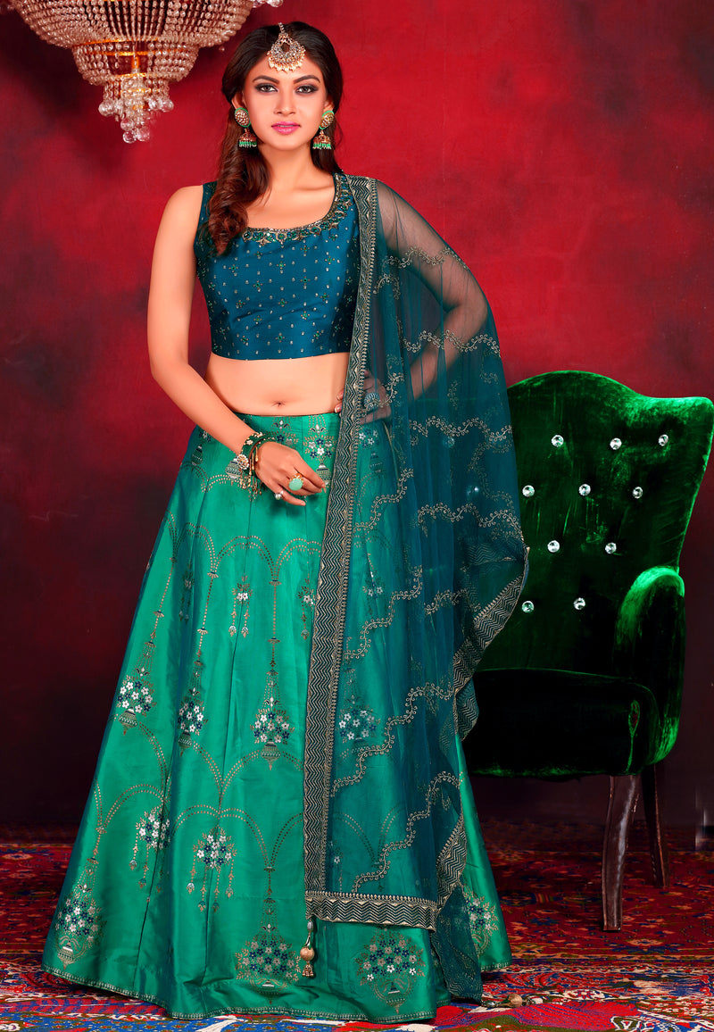 Navy Blue and Green Lehenga Choli