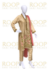 Gold suit with contrast duppata