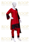 Red Suit with Black Thread Work