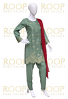 Light Green Suit with Red Duppata