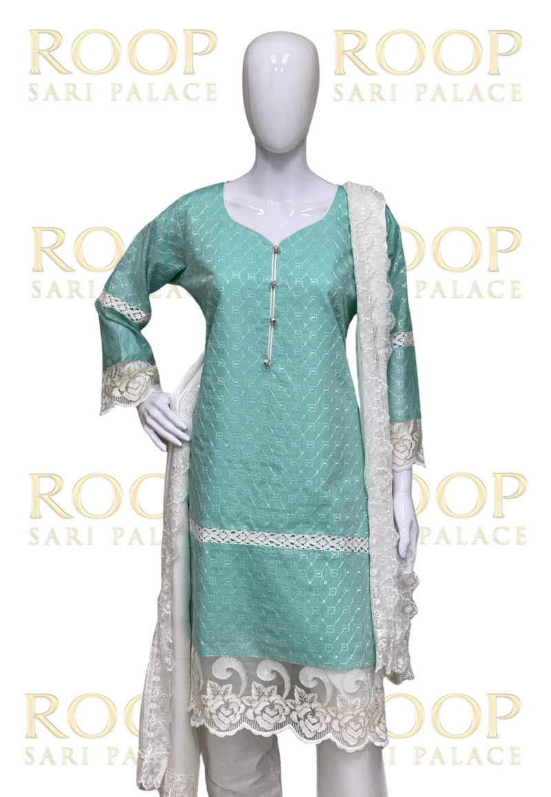 Light Green Thread Work Suit
